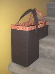 brown and orange stair basket