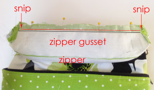 zipper gusset seam allowances