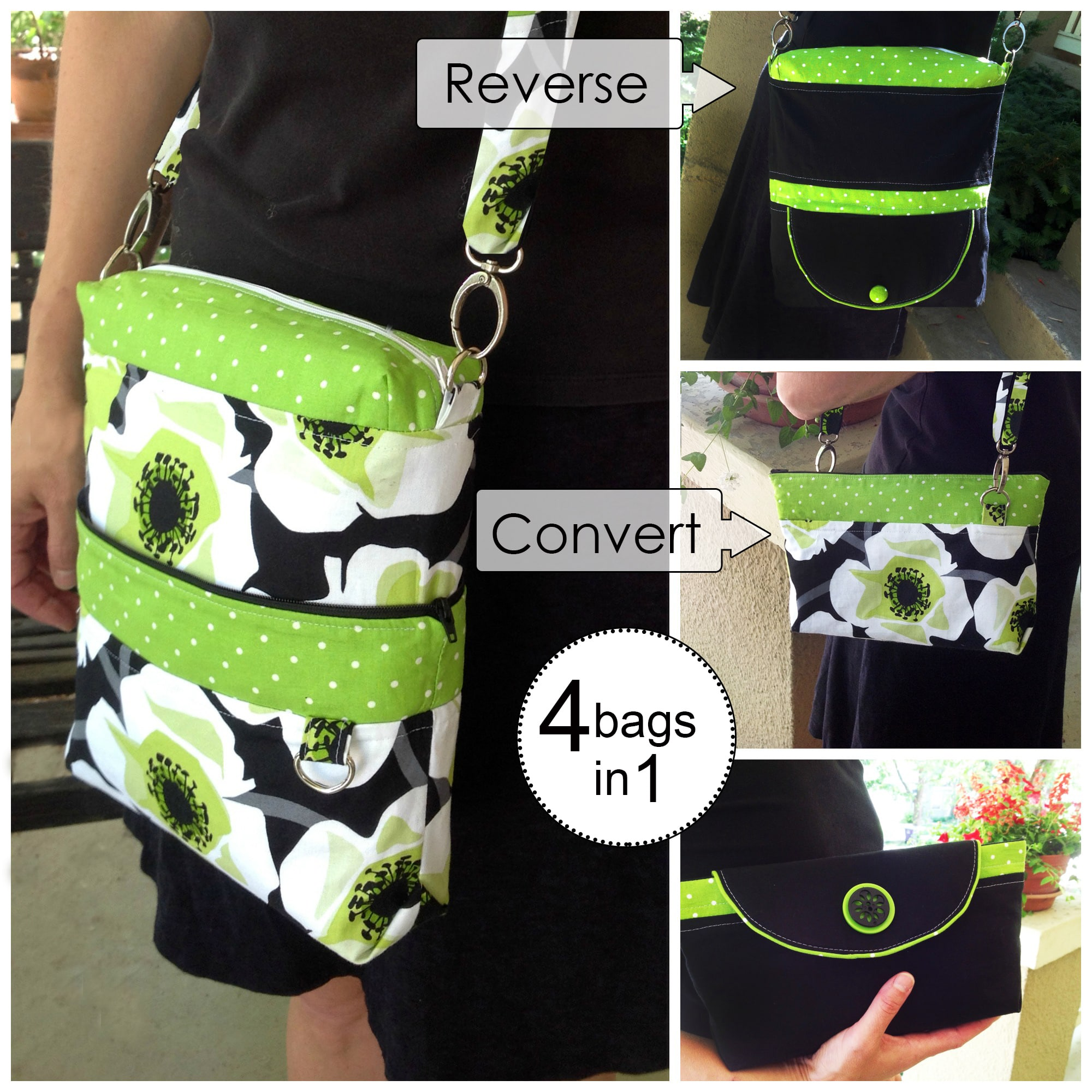 convertible reversible bag sewing pattern