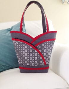 grey & red petal purse