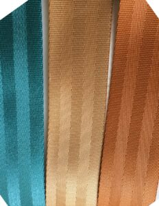 aqua, copper and spice seat belt webbing