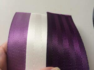 lilac, snow & aubergine seat belt webbing