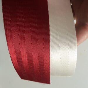snow & deep red seat belt webbing