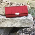 tri-fold wallet in deep red