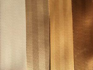 snow, beautiful beige, butter & copper seat belt webbing