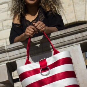 deep red & snow striped bag