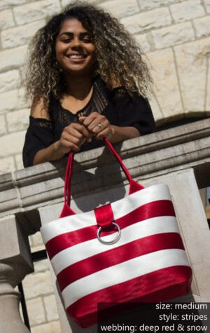 deep red & snow striped bag