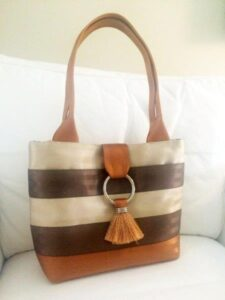 Fold over tassel on a small size bag