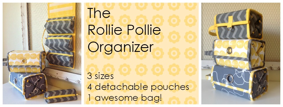 Sewing pattern for an organizer in three sizes with detachable pouches