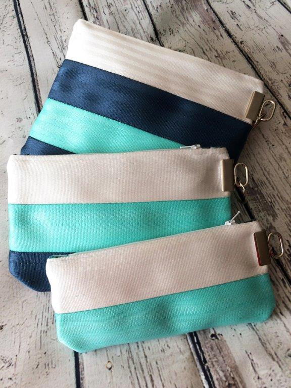 pouch trio in white, minty aqua and navy