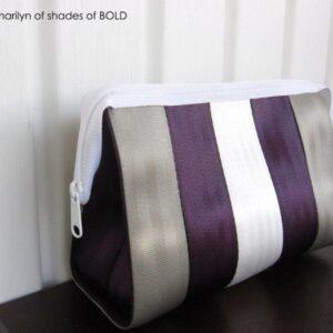 Silver dollar, stark white & aubergine seat belt webbing