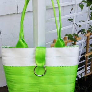 green seat belt purse
