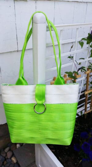 green seat belt purse