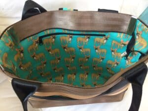 naomi seat belt bag with doggie fabric inside