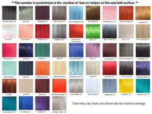 seat belt color chart