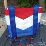 patriotic seat belt tote in red white and blue
