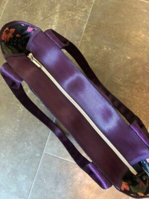 purple seat belt tote zip top view